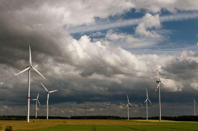 windturbines in storm cloud